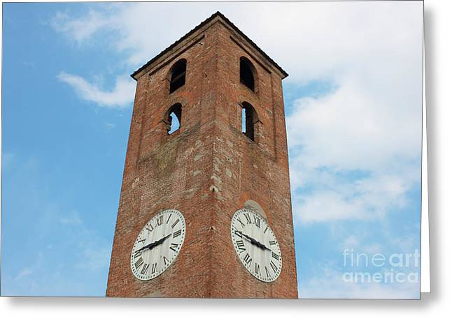 Antique Clock Tower On Blue Sky Background Greeting Card by Kiril Stanchev