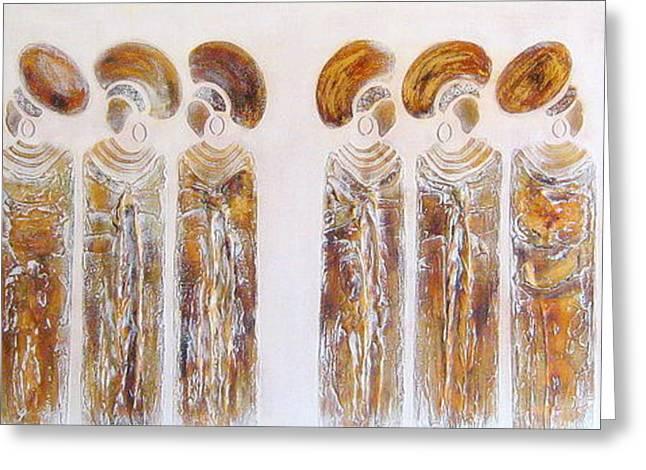 Antique Copper Zulu Ladies - Original Artwork Greeting Card