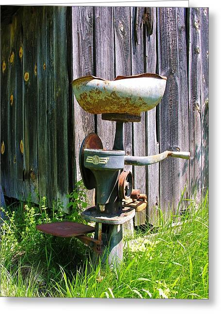 Greeting Card featuring the photograph Antique Cream Separator by Sherman Perry