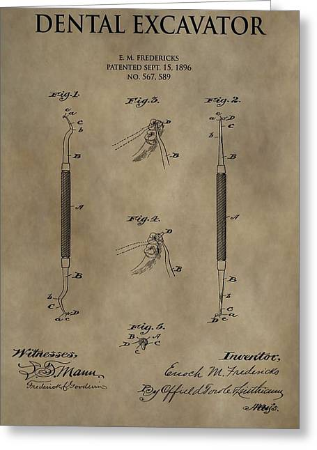 Antique Dental Excavator Patent Greeting Card by Dan Sproul