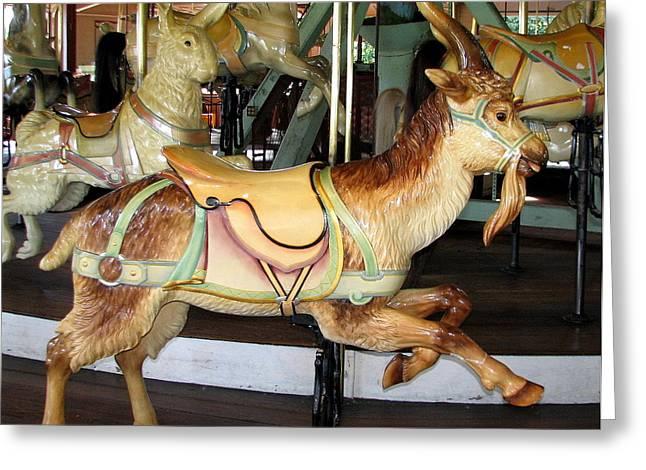 Antique Dentzel Menagerie Carousel Goat Greeting Card