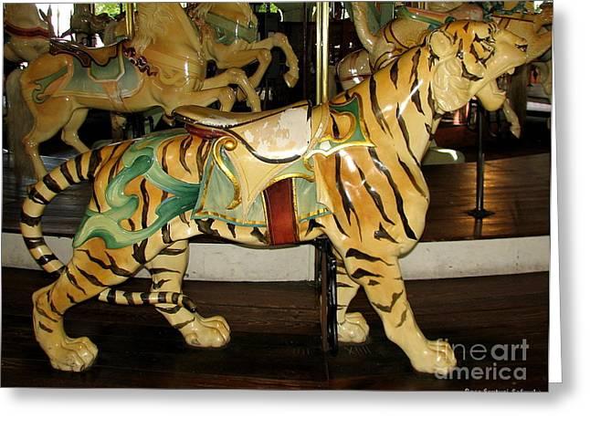 Antique Dentzel Menagerie Carousel Tiger Greeting Card