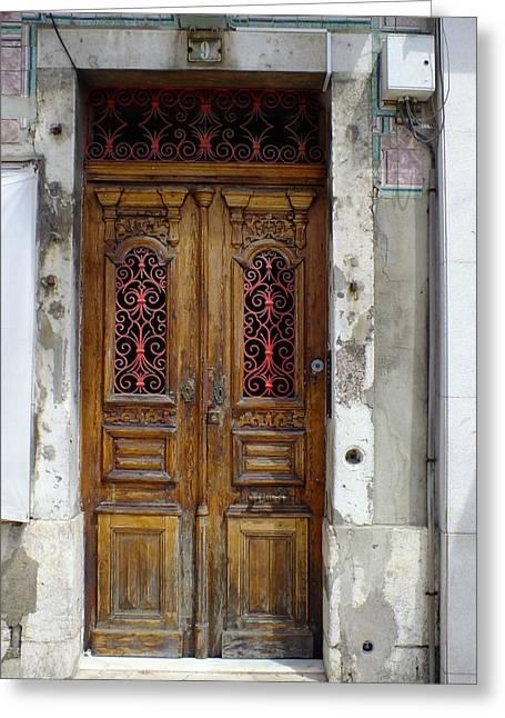Antique Door In Lisbon Greeting Card