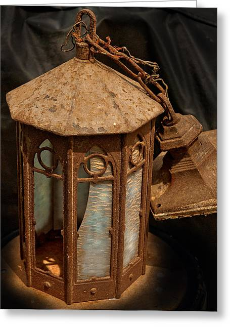 Antique Entry Light Of Historic Church Greeting Card