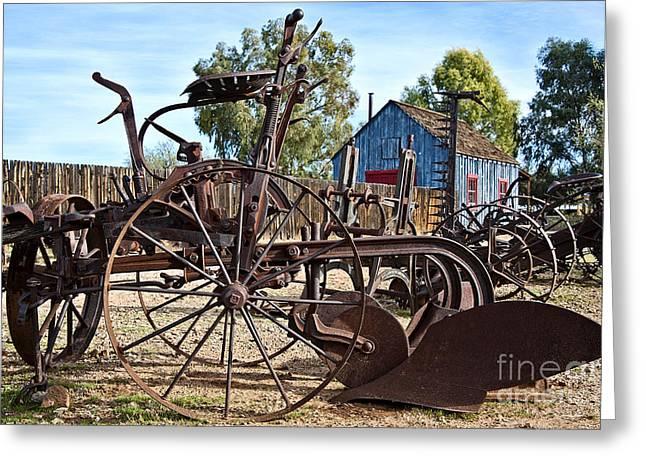 Antique Farm Equipment End Of Row Greeting Card by Lee Craig