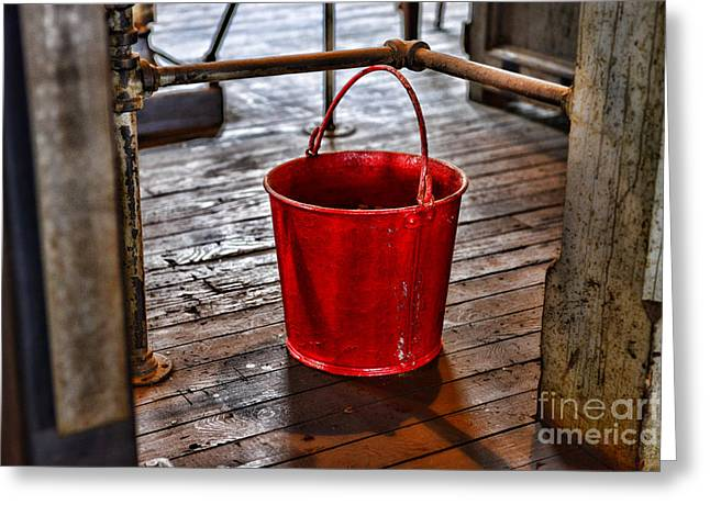 Antique Fire Bucket Greeting Card by Paul Ward