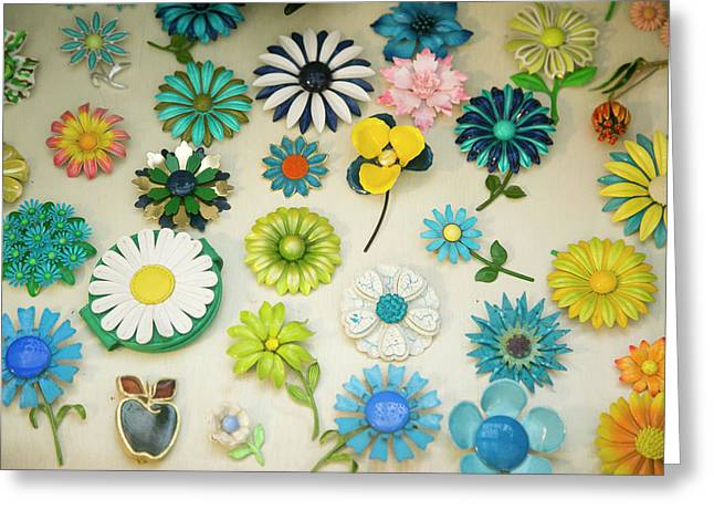 Antique Flower Pins, Palm Springs Greeting Card by Julien Mcroberts