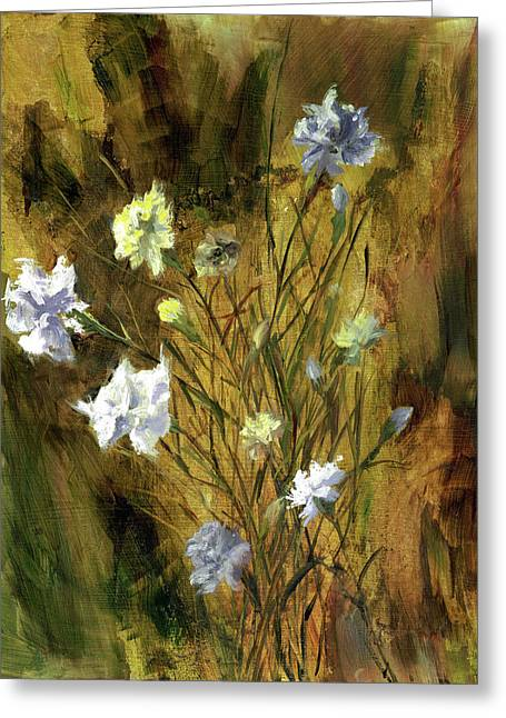 Greeting Card featuring the painting Antique Flowers by Vic  Mastis