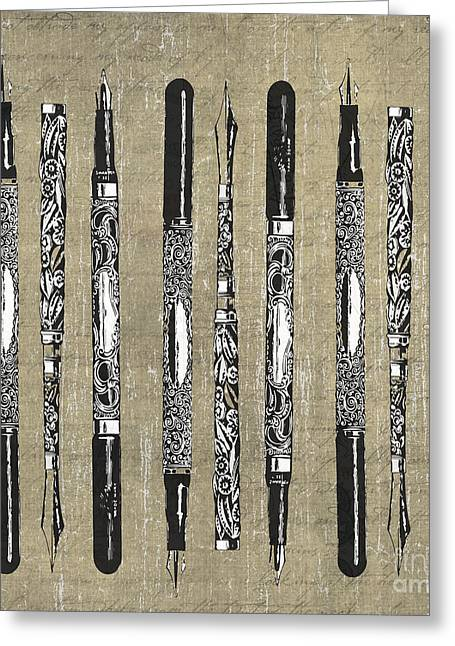 Antique French Paris Fountain Pens Greeting Card by Edward Fielding
