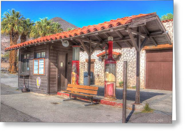 Antique Gas Station Greeting Card by Heidi Smith