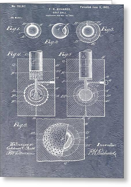Antique Golf Ball Patent Greeting Card by Dan Sproul