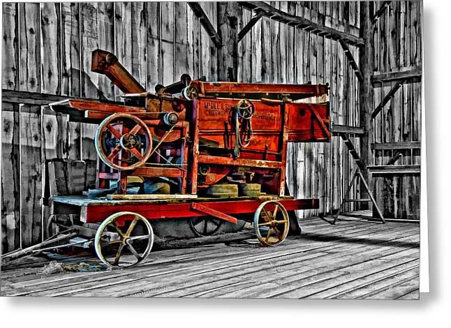 Antique Hay Baler Selective Color Greeting Card by Steve Harrington