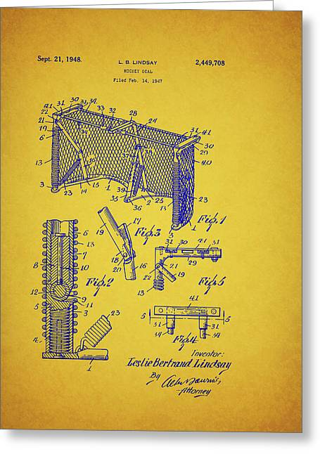 Antique Hockey Goal Patent Greeting Card by Mountain Dreams