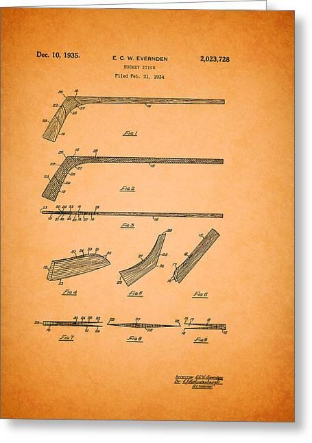 Antique Hockey Stick Patent 1935 Greeting Card