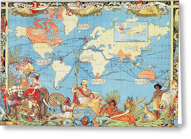 Antique Illustrated Map Of The World Greeting Card