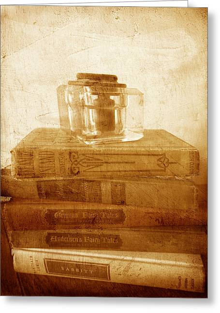 Antique Inkwell On Old Books Vintage Style Greeting Card by Ann Powell