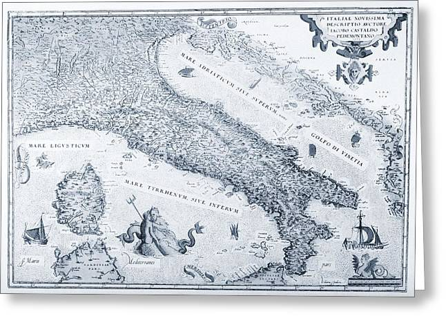 Antique Italy Map 1573 Greeting Card by Dan Sproul
