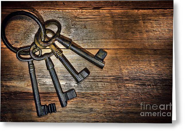 Antique Keys Greeting Card by Olivier Le Queinec