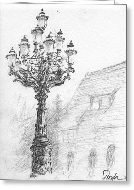 Antique Lampost Greeting Card by Horacio Prada