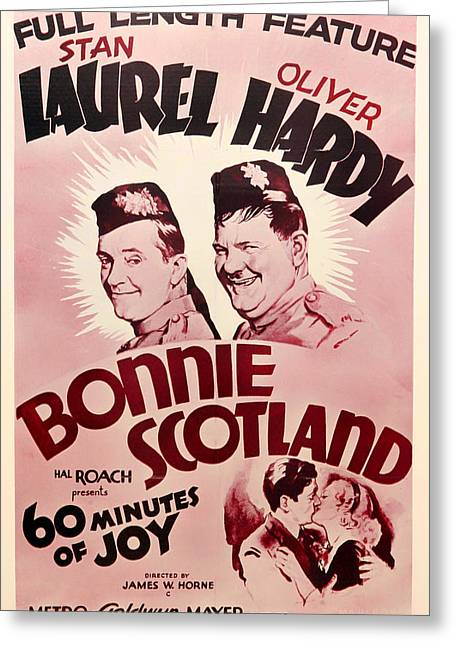 Antique Laurel And Hardy Movie Poster Greeting Card by Mountain Dreams