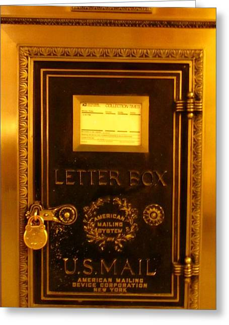 Antique Letter Box At The Brown Palace Hotel Greeting Card by John Malone