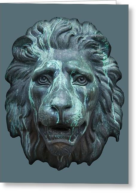 Antique Lion Face In Blue Greeting Card by Jane McIlroy
