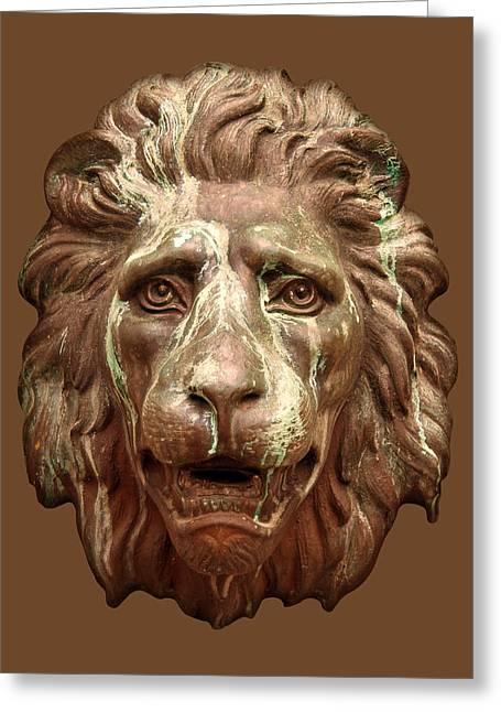 Antique Lion Face In Brown Greeting Card by Jane McIlroy