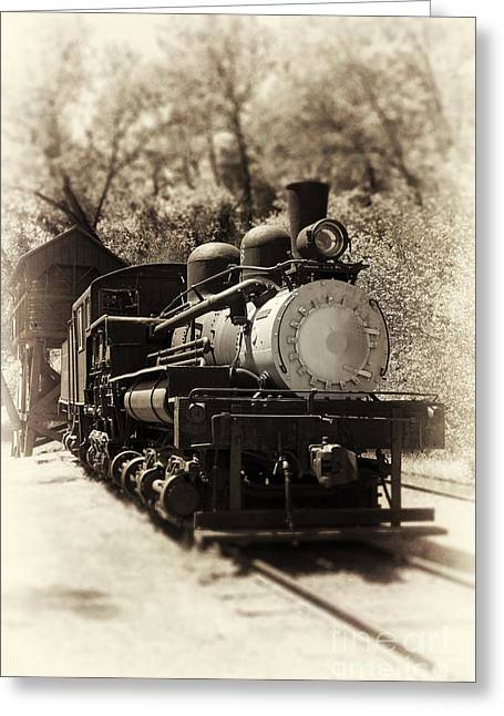 Antique Locomotive Greeting Card by Jane Rix