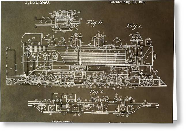 Antique Locomotive Patent Greeting Card by Dan Sproul