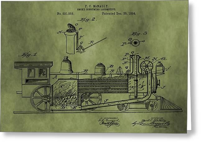 Antique Locomotive Train Patent Greeting Card by Dan Sproul
