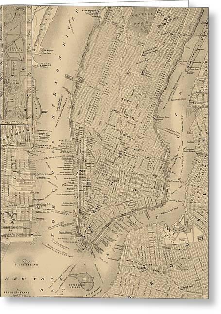 Antique Manhattan Map Greeting Card