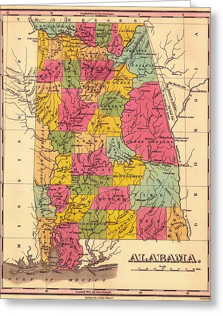 Antique Map Of Alabama 1833 Greeting Card by Mountain Dreams