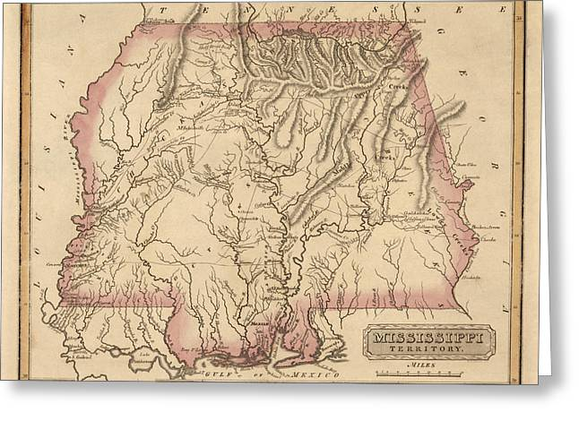 Antique Map Of Alabama And Mississippi By Fielding Lucas - Circa 1817 Greeting Card by Blue Monocle