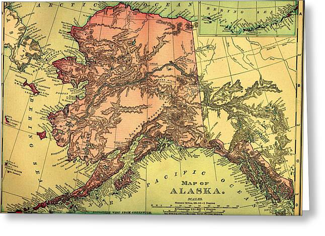 Antique Map Of Alaska 1895 Greeting Card