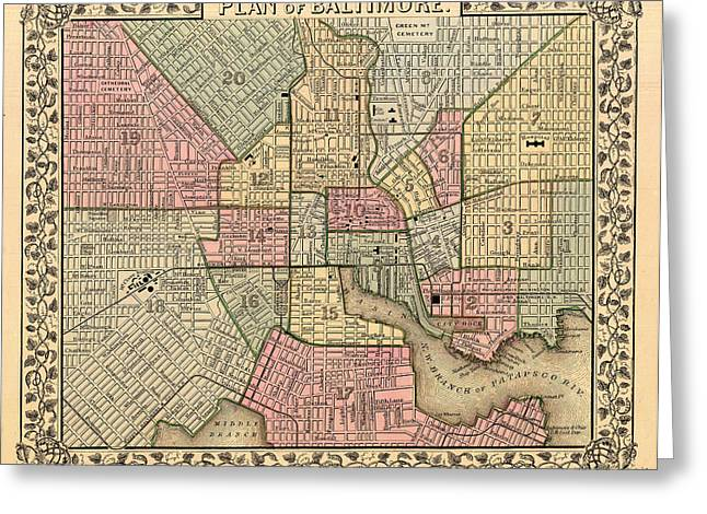 Antique Map Of Baltimore 1867 Greeting Card by Mountain Dreams