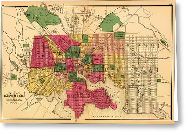 Antique Map Of Baltimore 1873 Greeting Card by Mountain Dreams