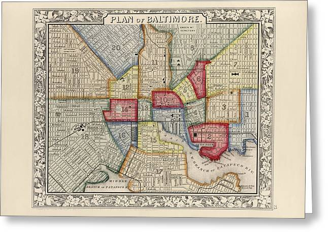 Antique Map Of Baltimore Maryland By Samuel Augustus Mitchell - 1863 Greeting Card