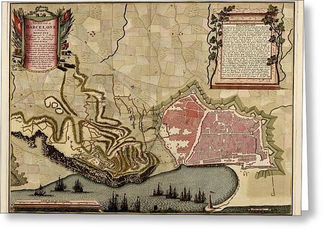 Antique Map Of Barcelona Spain By Anna Beeck - Circa 1706 Greeting Card by Blue Monocle