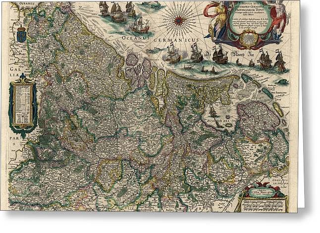Greeting Card featuring the drawing Antique Map Of Belgium And The Netherlands By Willem Janszoon Blaeu - 1647 by Blue Monocle