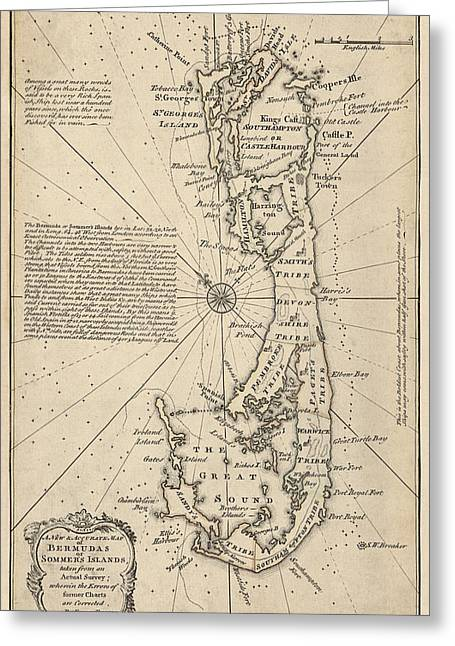 Antique Map Of Bermuda By Emanuel Bowen - 1750 Greeting Card by Blue Monocle