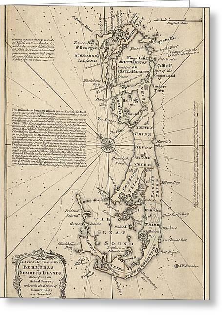 Antique Map Of Bermuda By Emanuel Bowen - 1750 Greeting Card
