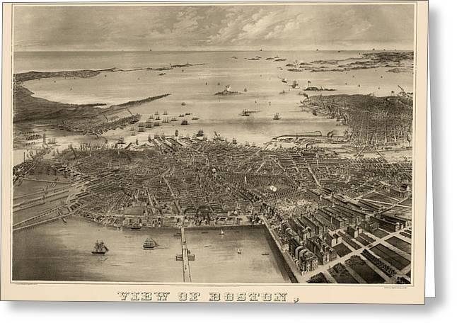 Antique Map Of Boston Massachusetts By F. Fuchs - 1870 Greeting Card