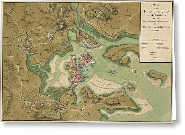 Antique Map Of Boston Massachusetts By Thomas Hyde Page - 1776 Greeting Card by Blue Monocle