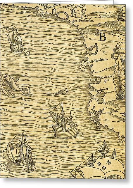 Antique Map Of Brazilian Coast Greeting Card
