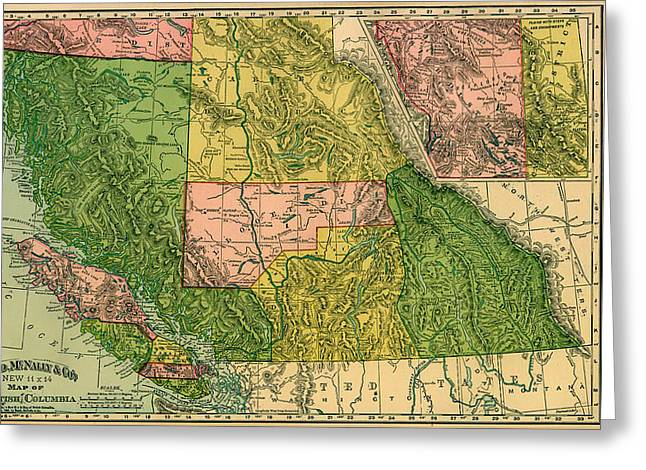 Antique Map Of British Columbia 1896 Greeting Card by Mountain Dreams