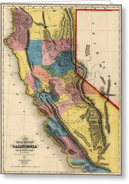 Antique Map Of California By Charles Drayton Gibbes - 1851 Greeting Card by Blue Monocle