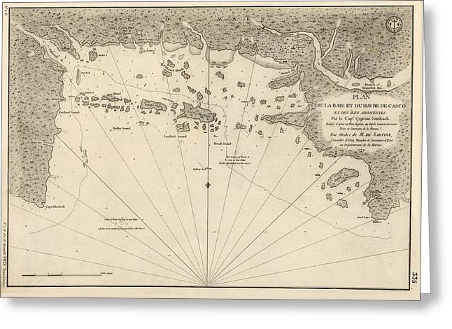 Antique Map Of Casco Bay And Portland Maine By Cyprian Southack - 1779 Greeting Card by Blue Monocle