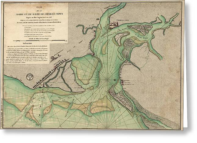 Antique Map Of Charleston Harbor South Carolina - 1778 Greeting Card by Blue Monocle