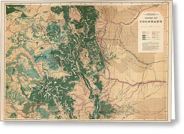 Antique Map Of Colorado - 1877 Greeting Card by Blue Monocle