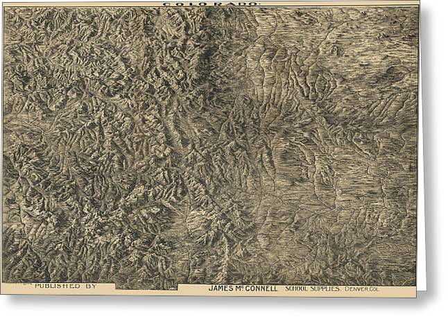Antique Map Of Colorado By Frank Pezolt - 1894 Greeting Card by Blue Monocle